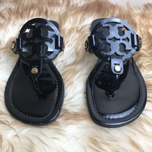 Tory Burch Shoes - Tory Burch Miller Black Patent Sandals size 5 Logo